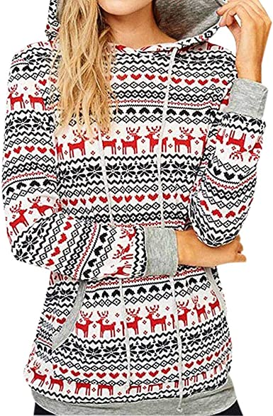 Luckycat Sudadera navideña para Mujer Patrones de Nieve Estampado Floral Sudadera con Capucha Blusas Casuales: Amazon.es: Ropa y accesorios