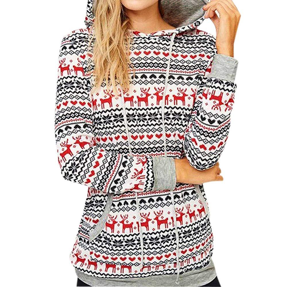 ... Blusas de Mujer Camisa de Manga Larga del Estampado Floral de Navidad Pulóver Dama Suéter Casual Encapuchado Tops Camiseta Sudaderas Mujer Blousas Linda ...