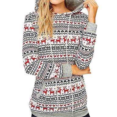 Yusealia Camisas Mujer de Navidad Blusa, Blusas de Mujer Camisa de Manga Larga del Estampado Floral de Navidad Pulóver Dama Suéter Casual Encapuchado Tops Camiseta Sudaderas Mujer Blousas Linda Túnica: Amazon.es: Ropa