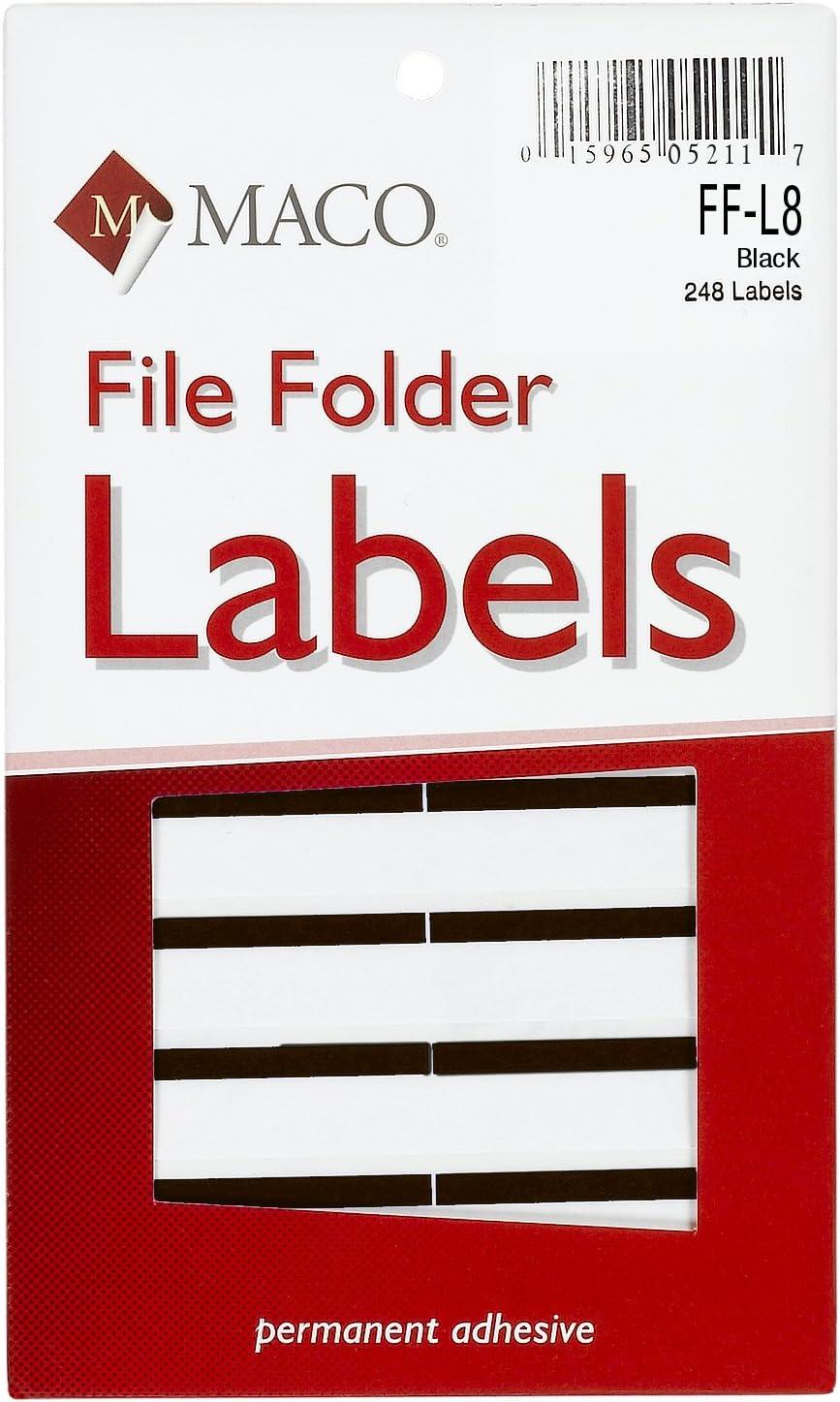 MACO Black File Folder Labels, 9/16 x 3-7/16 Inches, 248 Per Box (FF-L8) : Office Products