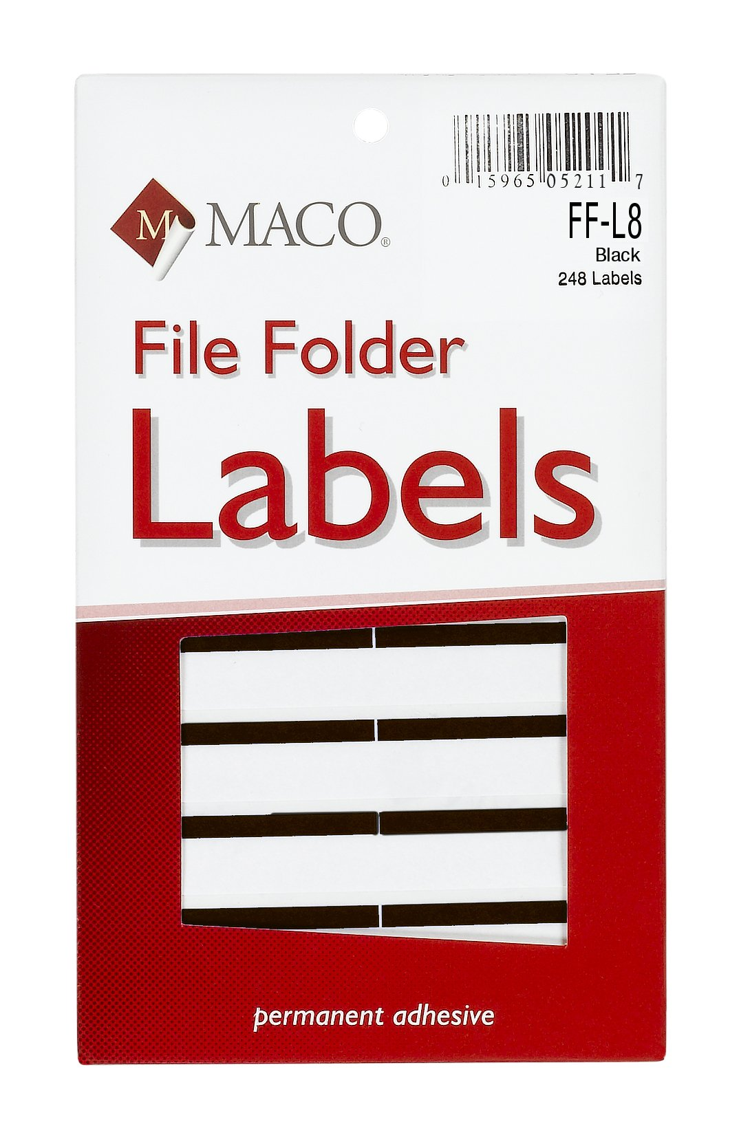 MACO Black File Folder Labels, 9/16 x 3-7/16 Inches, 248 Per Box (FF-L8)