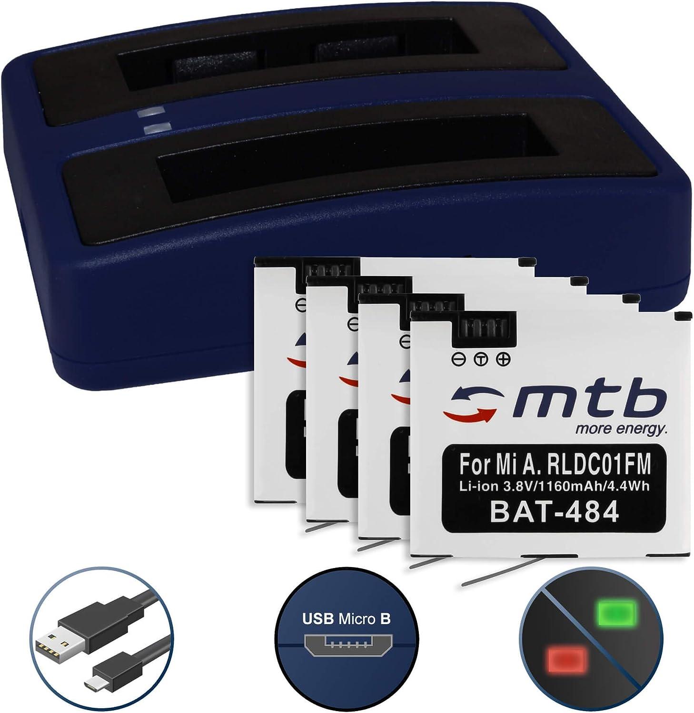 4 Baterías + Cargador Doble (USB) para Xiaomi mijia Mini 4K Action CAM - reemplaza Xiaomi RLDC01FM [1160 mAh - 3.8V - Li-Ion] - Cable USB Micro Incluido