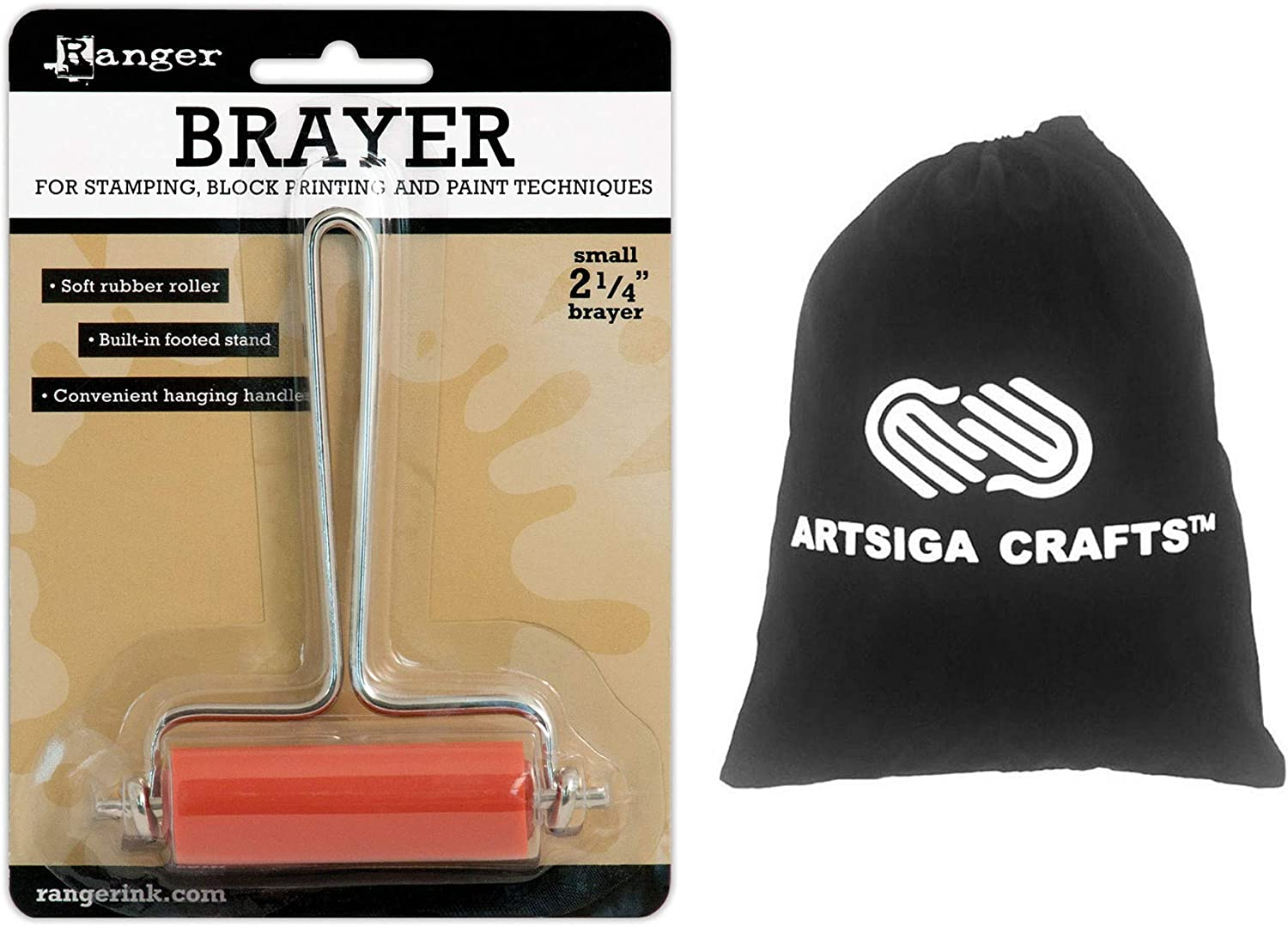 Ranger Ink Inky Roller Brayer 2.25 inches Small 1-Pack Bundled with 1 Artsiga Crafts Small Project Bag