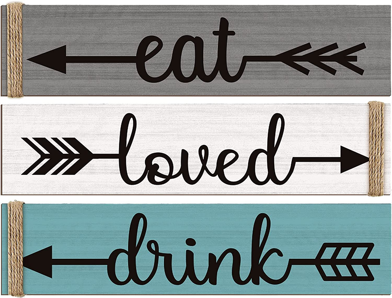 Jetec 3 Pieces Eat Loved Drink Sign Wood Kitchen Wall Decor Hanging Wood Signs Rustic Hanging Wood Home Sign for Home Kitchen Living Room Restaurant Indoor (Gray, White, Lake Blue)