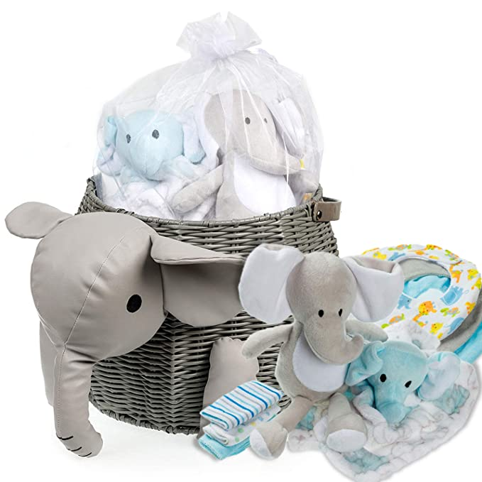 Amazon.com : Baby Shower Gifts - New Baby Newborn Essential Gift Basket, Beautiful Elephant Theme Gift Wrapped for a boy or Girl, All in One Registry Essential Stuff for Boys or Girls, Includes Card Perfect Set : Baby