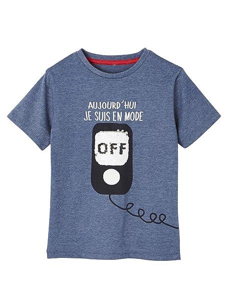 7dd451c81 VERTBAUDET Camiseta para niño con Mensaje Divertido de Lentejuelas  Reversibles  Amazon.es  Ropa y accesorios