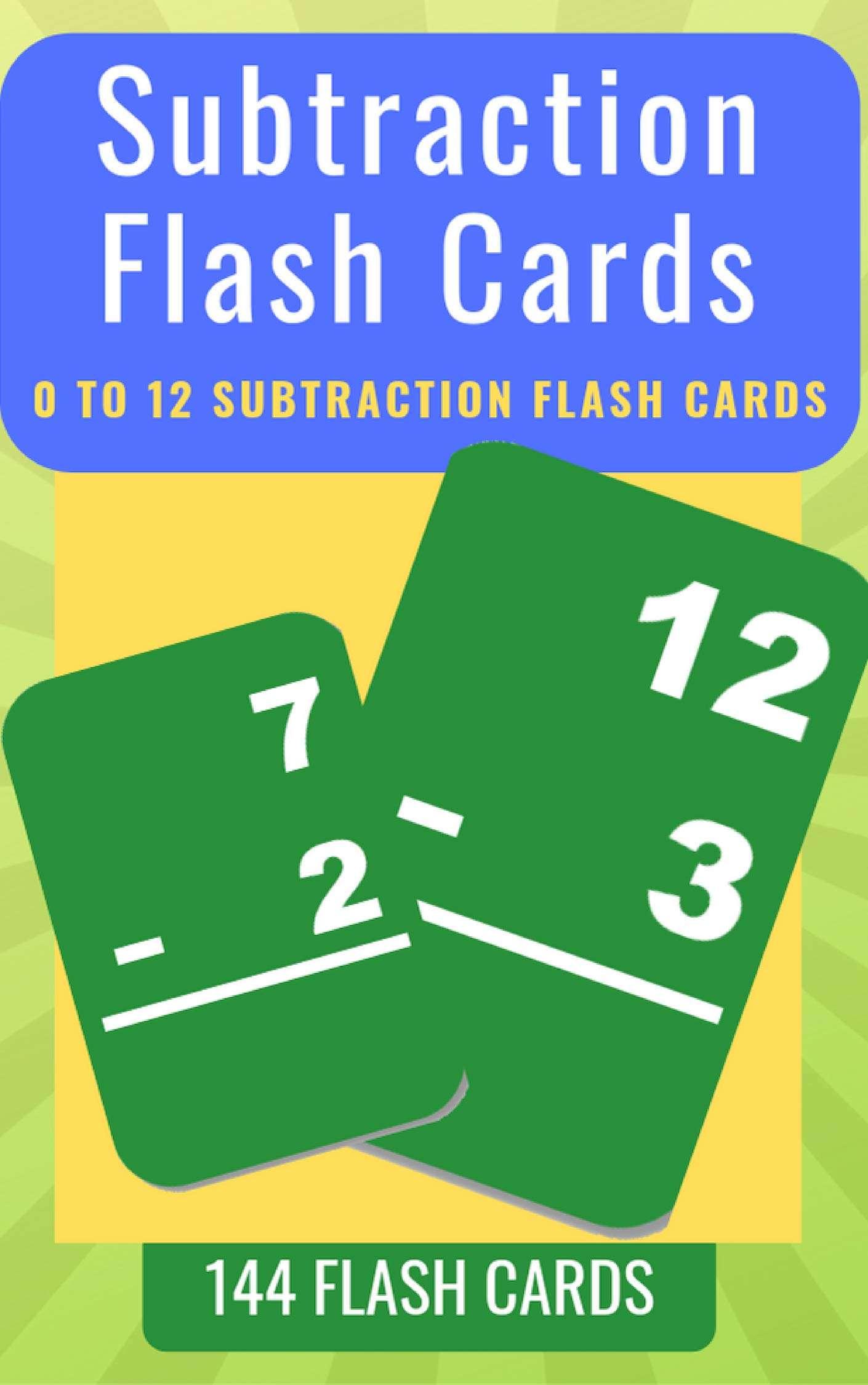 Subtraction Flash Cards: 0 To 12  Subtraction Flash Cards For Kids (Malth Flash Cards Book 3) (English Edition)