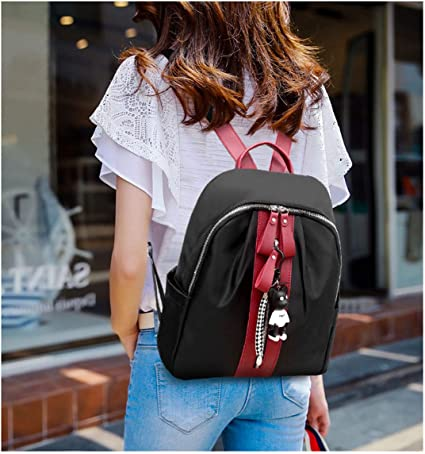 Haoyushangmao The Girls Versatile Backpack is Perfect for Everyday Travel School Fashion and Leisure Work Pure Black and Red Vertical Bars. Outdoor Travel Color : Black, Size : 31cm31cm14cm