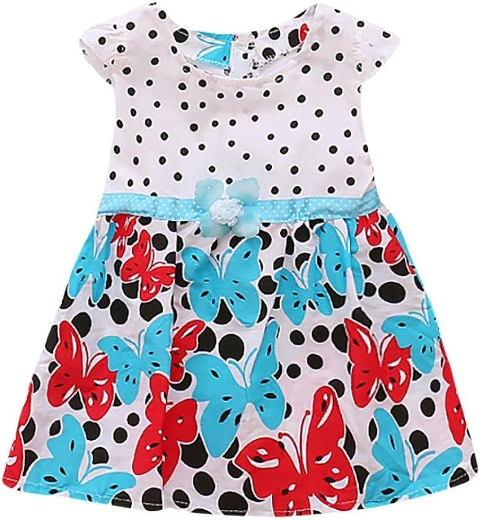 TM Elevin Toddler Kids Baby Girl Skirt Newborn Sleeveless Dot Print Flower Summer Dresses