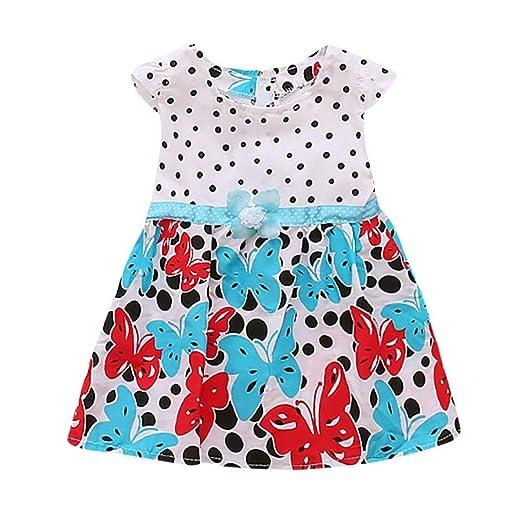 a5151209aba9 Elevin(TM) Toddler Kids Baby Girl Skirt Newborn Sleeveless Dot Print Flower  Summer Dresses