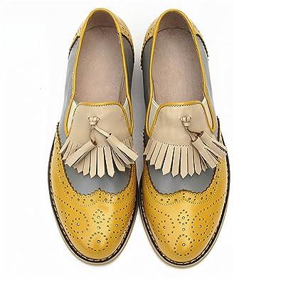 Amazon.com | Frozac Mujeres de Cuero genuino Zapatos Oxford Mujer Hecho a Mano Vintage Retro Encaje mocasines Brown Mujeres Yellow Grey Nude 6.5 | Sandals
