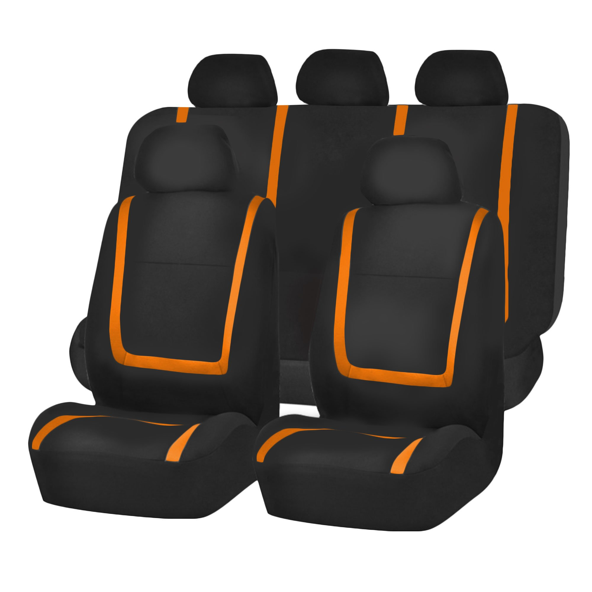 FH Group FH-FB032115 Unique Flat Cloth Seat Cover w. 5 Detachable Headrests and Solid Bench Orange/Black- Fit Most Car, Truck, SUV, or Van by FH Group