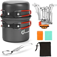 Odoland 6pcs Camping Cookware Mess Kit with Lightweight Pot, Stove, Spork and Carry Mesh Bag, Great for Backpacking…