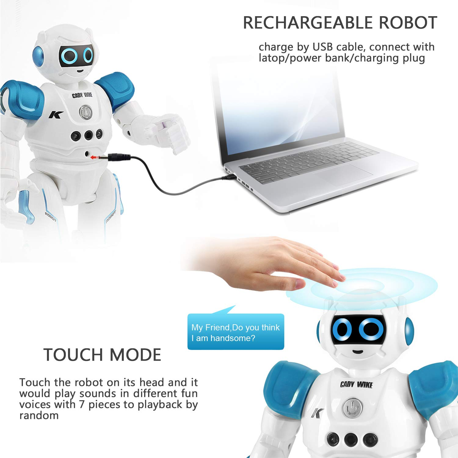 IHBUDS Robot Toy for Kids, Smart Robot Kit with Remote Control & Gesture Control, Perfect Robotics Gifts for Boys Girls Learning Programmable Walking Dancing Singing (Blue) by IHBUDS (Image #4)