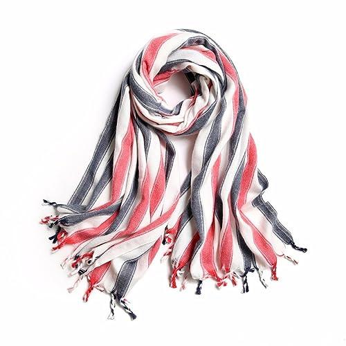 yall Elegante Dama Cálida Bufanda Bufanda Bufanda Stripe Plaid, Rojo, 90 * 200Cm