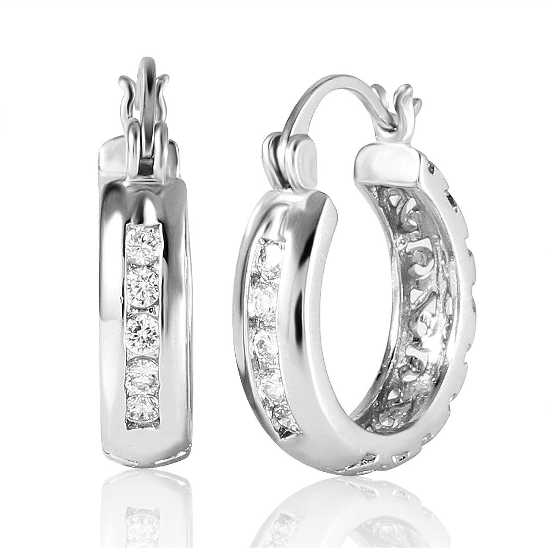 GULICX Vogue pendientes circonita Pendientes de aro oro blanco galvanizado para las
