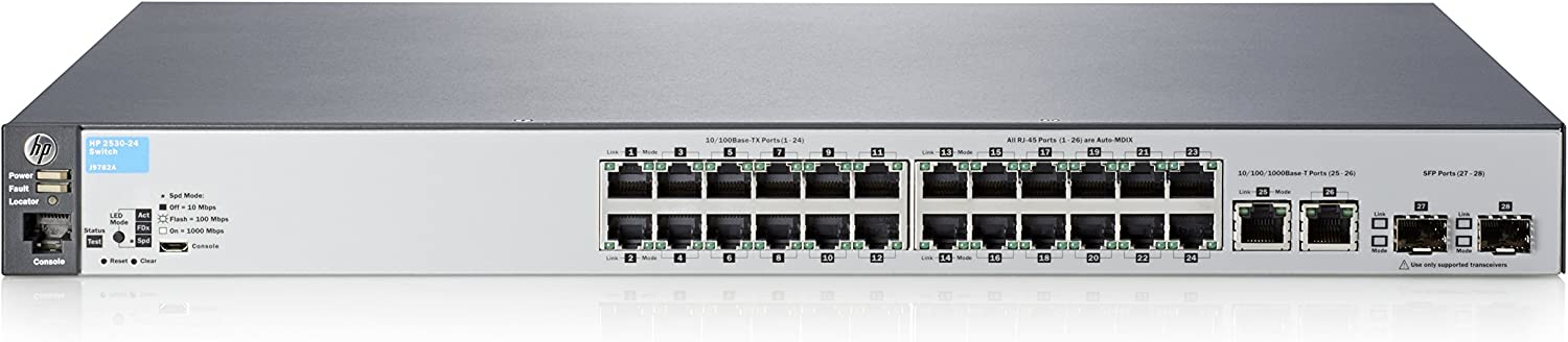 HP J9782A 2530 Series Aruba 2530-24 24-Port Fast Ethernet 2-Port SFP Switch