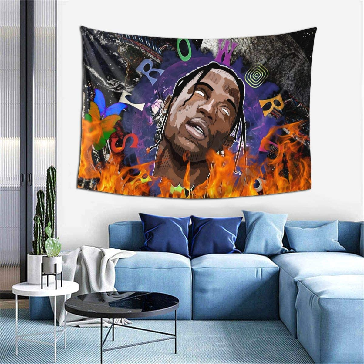 Travis-Scott Astroworld Wall Hanging,Tie-Dye Galaxy Element Tapestry with Art Nature Home Decorations Flags Poster Dorm Decor for Living Room Bedroom (40x60 Inches)