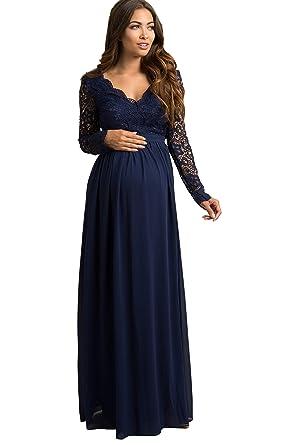 03c6c1c906434 PinkBlush Maternity Navy Blue Scalloped Crochet Chiffon Maternity Evening  Gown,
