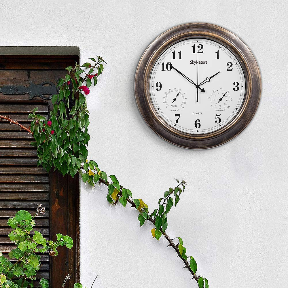 18 Inch Silent Battery Operated Metal Clock,Wall Decorative for Patio,Pool and Home Bronze SkyNature BC-UOAQ-DOUJ Outdoor Clocks with Thermometer and Hygrometer
