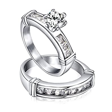 luxusteel white cz diamond stainless steel engagement wedding rings in 4 sizes for women - Amazon Wedding Rings