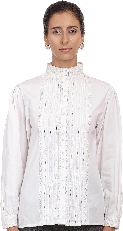 Cotton Lane Blusa de Manga Larga Victoriana de algodón Blanco: Amazon.es: Ropa y accesorios
