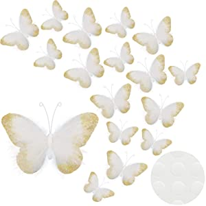 16 Pieces Feather 3D Butterfly Wall Decals Gold Glitter Butterfly Decor Stickers for Room Home Nursery Classroom Offices Kids Girl Boy Bedroom Bathroom Living Room Decor (White)