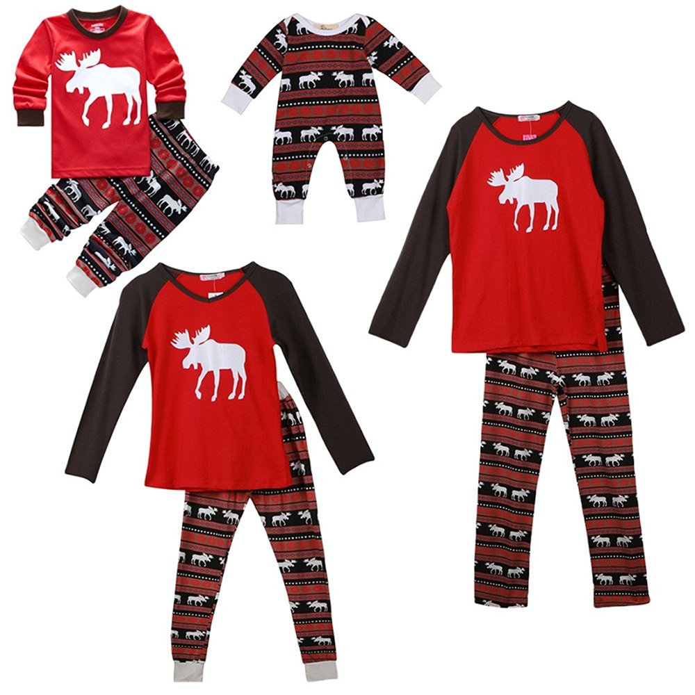 SPECOOL Christmas Family Elk Holiday Family Matching Christmas Pajamas Pjs Sleepwear Sets