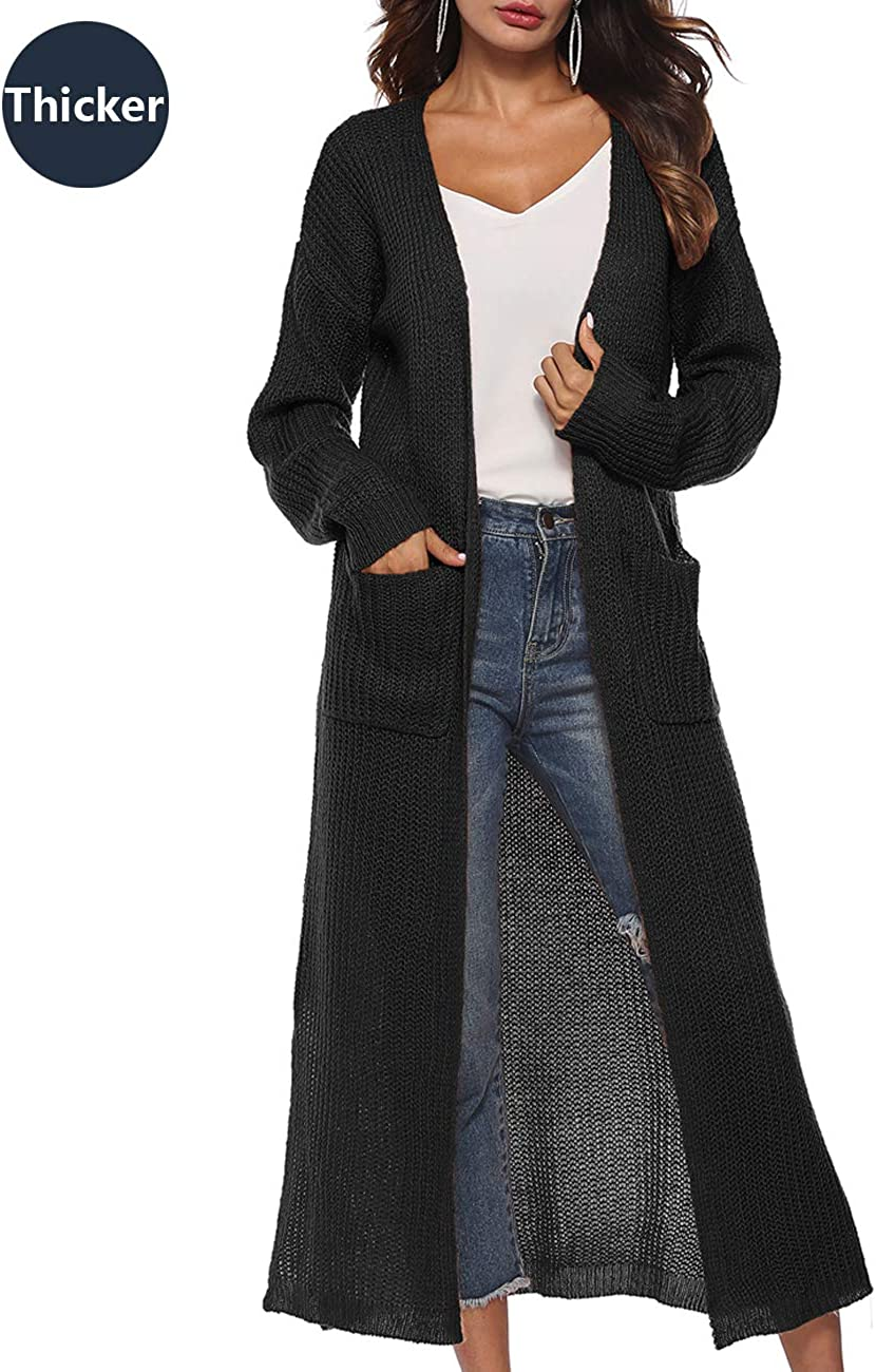 Womens Casual Long Sleeve Split Open Cardigan Knit Long Cardigan Sweaters with Pockets