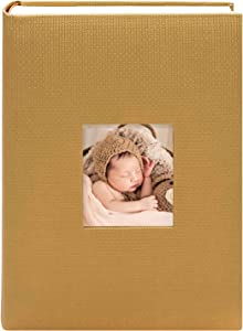 Golden State Art, Wedding Family Baby Holiday Photo Album Christmas, Vacation, Anniversary Photography Book for 300 4x6 Pictures Pockets with Memo, 3 Per Page Large Capacity Gold Embossed Cover