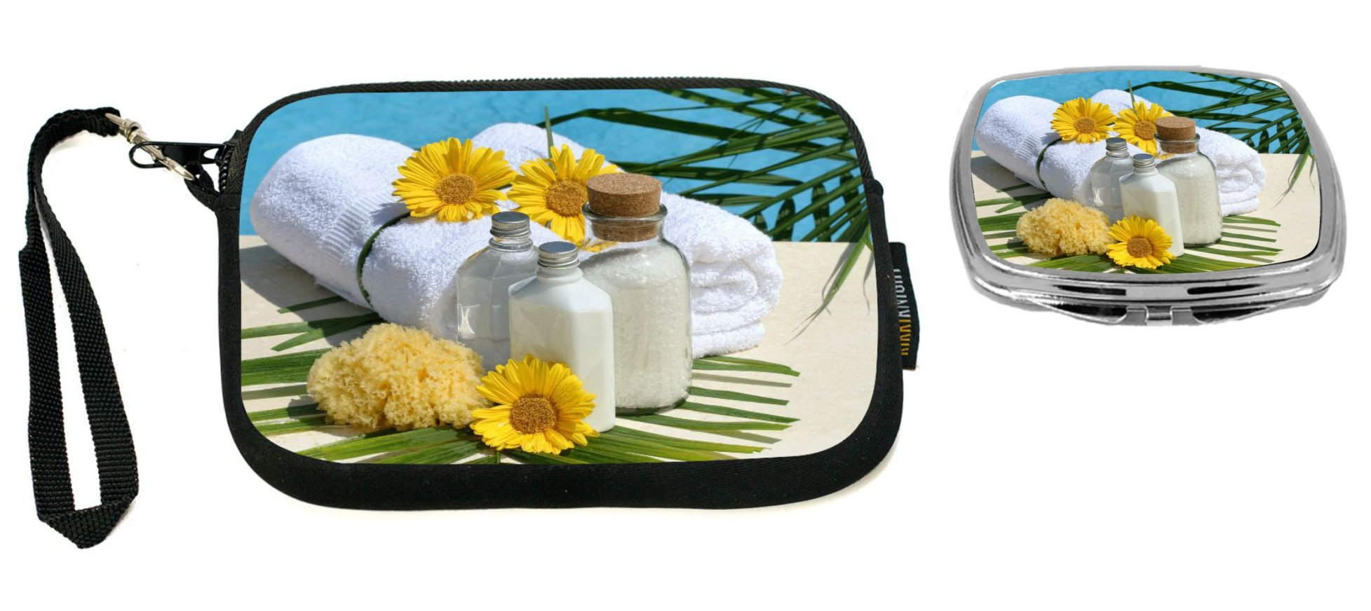 Rikki Knight Day at the Spa Design Neoprene Clutch Wristlet with Matching Square Compact Mirror