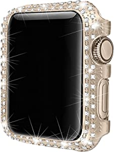 Secbolt 38mm Bling Case Compatible with Apple Watch Band, iWatch Series 3 2 1, Stainless Steel Metal Sparkling Crystal Diamond Cover Bezel Rhinestone Full Protective Frame, Champagne Gold