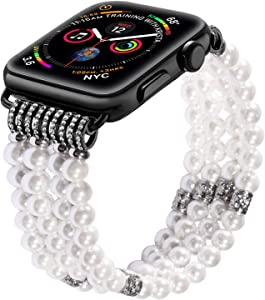 SBT Faux Pearl Band For Apple Watch Fashion Handmade Elastic Stretch Bracelet (42 MM)