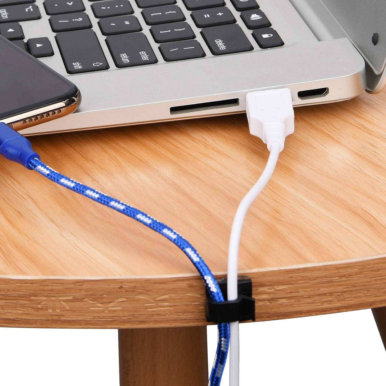 Ethernet organizadores de cables SOULWIT 100 clips autoadhesivos para la gesti/ón de cables escritorio y oficina clips de alambre adhesivos PC port/átil soporte para cable de TV