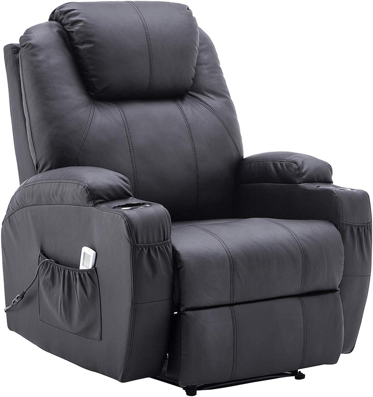 Sillón de masaje eléctrico (mcombo Sillón de camilla Función vibración Calefacción (Negro)