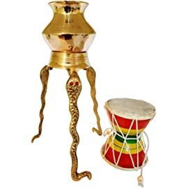 Santosh Bhakti Bhandaar Brass Tripai-Lota Abhishek for Shivling with 1 Musical Handmade Damru (Golden)