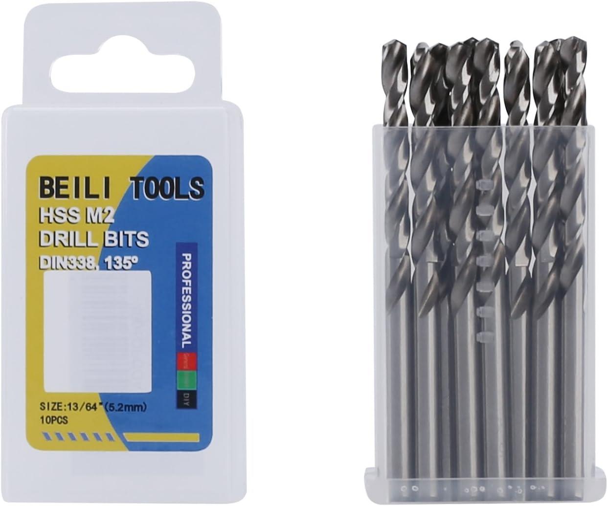 5//16, 8.0mm HSS M2 Metal Jobber Twist Drill Bits Pack of 10