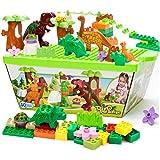 ZaH 40pcs Building Blocks Plastic Kids Toys Jurassic Dinosaur Figure Toy Learning Educational Pretend Playset Dinosaur World Park for Boys Girls