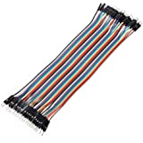 daorier 40x 20cm Multicolor Jumper cables de Dupont 40Pin macho a hembra, 40pines macho a macho, 40pines hembra a hembra protoboard Jumper Cables Cables de cinta Kit para Arduino, 1pieza/3piezas Male-Male 1x40P Male-Male(20cm/2.54mm)