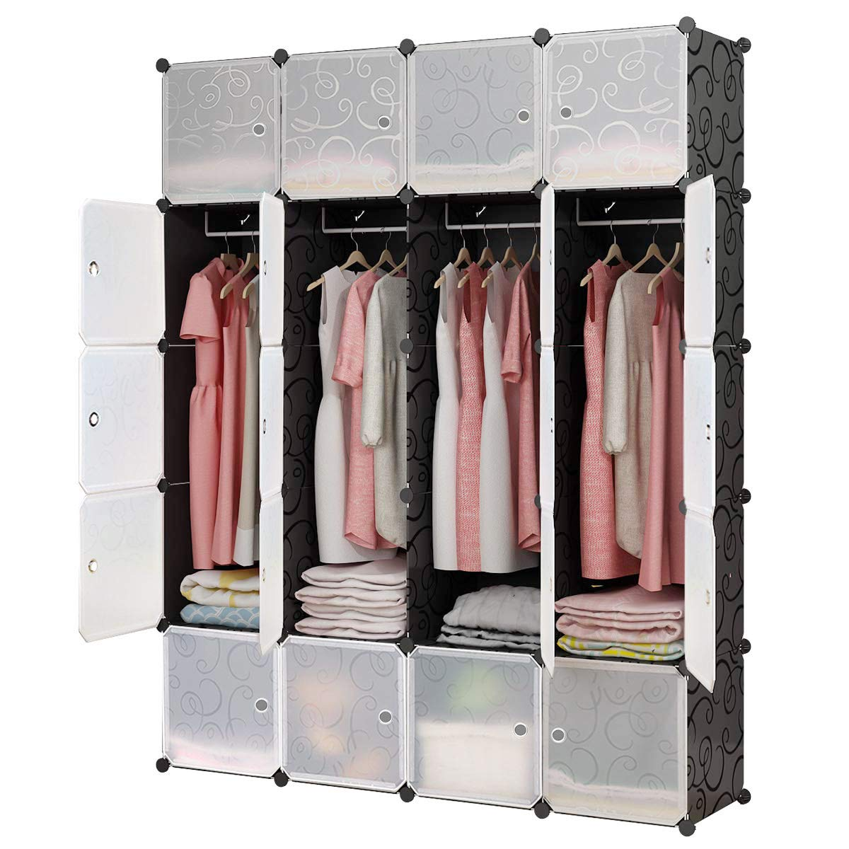 KOUSI Portable Closet Clothes Wardrobe Bedroom Armoire Storage Organizer with Doors, Capacious & Sturdy, Black, 5 Cubes+1 Hanging Sections