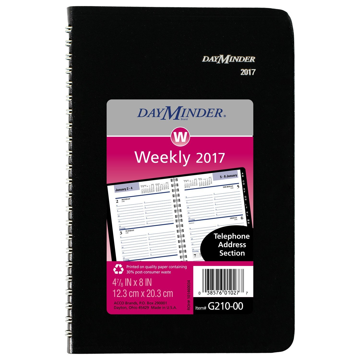 DayMinder Weekly Appointment Book / Planner 2017, 4-7/8 x 8'', Tabbed Telephone/Address, Black (G210-00)