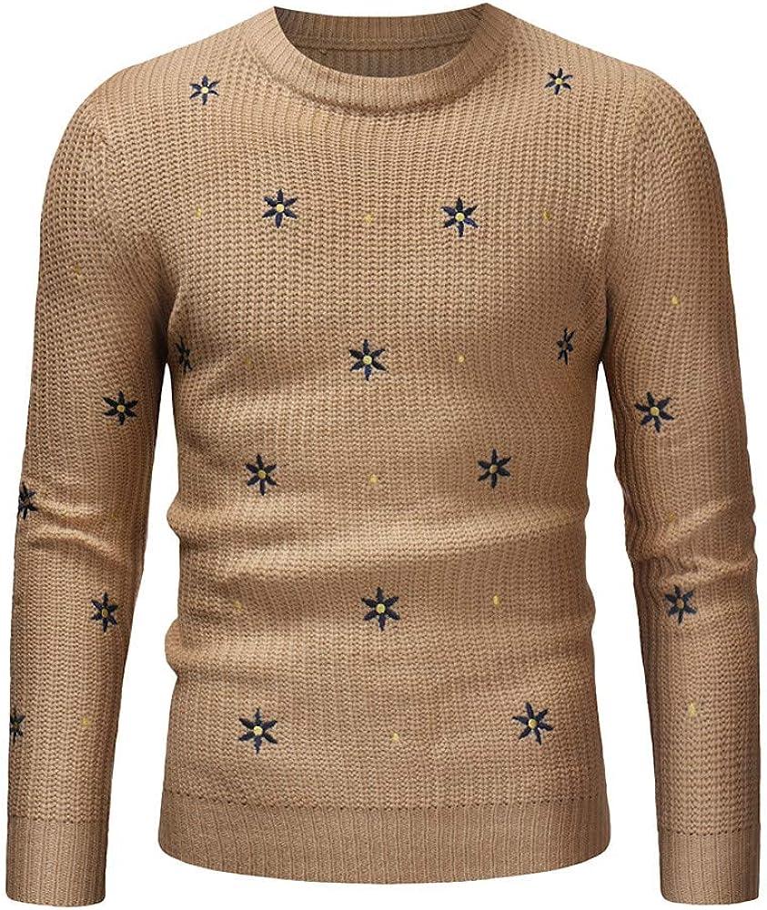 NREALY Sweater Mens Autumn Winter Casual Print Knit Cardigan Xmas Long Sleeve Shirt Tops
