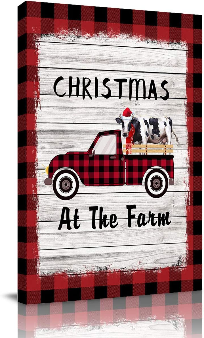 """Aomike Canvas Wall Art, Christmas at The Farm Buffalo Check Plaid Truck with Milk Cow Artwork Canvas Prints for Living Room, Bedroom, Kitchen, Office- Stretched and Framed Ready to Hang (28"""" x 20"""")"""