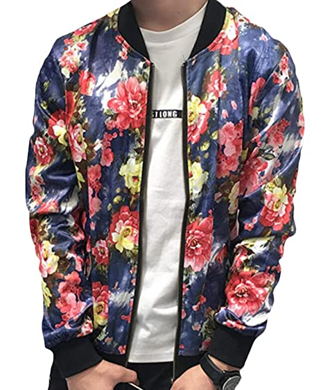 M2MO Mens Floral Print Bomber Baseball Collar Varsity Jacket one US XS