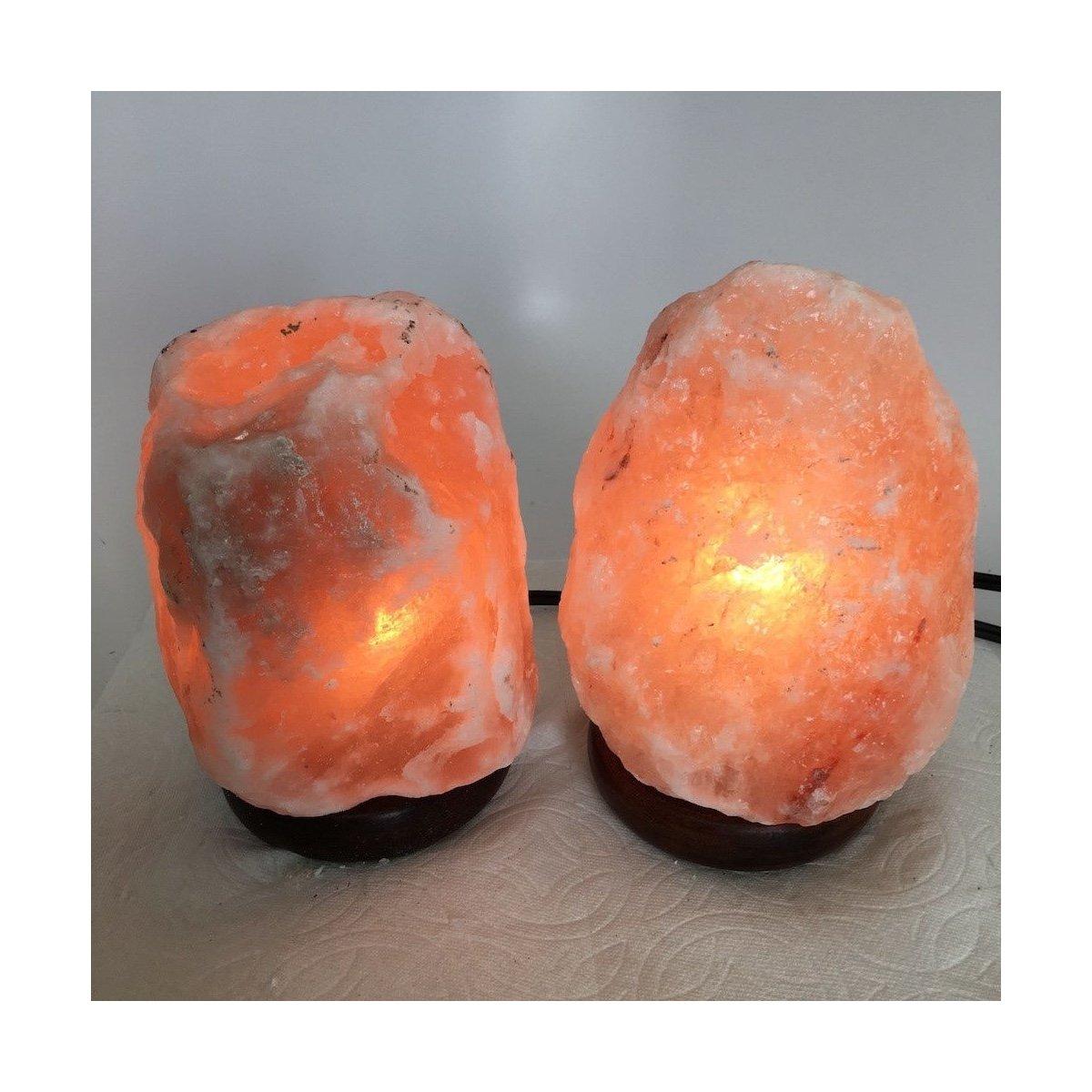 2x Himalaya Natural Handcraft Rough Raw Crystal Salt Lamp, 6.75''-7.25'' Tall,XL159