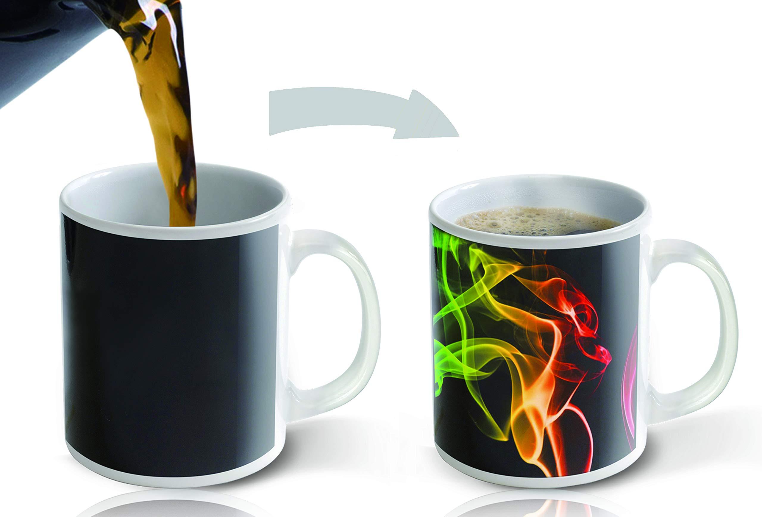 Heat Sensitive Mug | Color Changing Coffee Mug | Funny Coffee Cup | Smoke Design 11oz | Funny Coffee/Tea Cup | 100% Ceramic