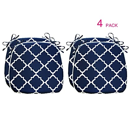 Amazing Fabritones Outdoor Cushions 16X17 Inches 4 Pack Comfortable Seat Pads Navy Quatrefoil Lattice Square Chair Pads For Outdoor Patio Furniture Garden Ibusinesslaw Wood Chair Design Ideas Ibusinesslaworg