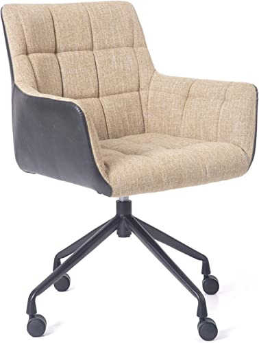 Blairot Home Office Chair Retro Mid Century Waxed Discoloration Leather Chair Mid-Back Linen Fabric Accent Chair