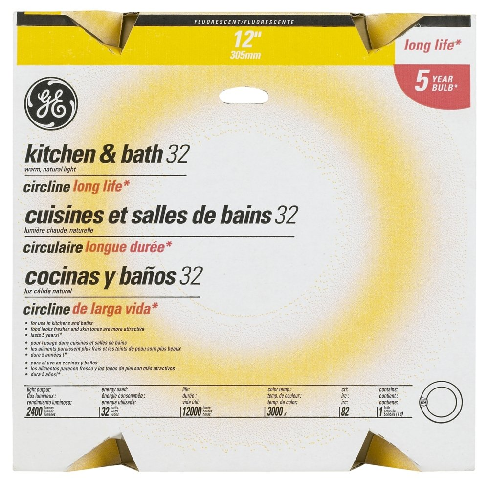 GE Lighting 11085 32-Watt T9 Kitchen and Bath Circline - Compact ...