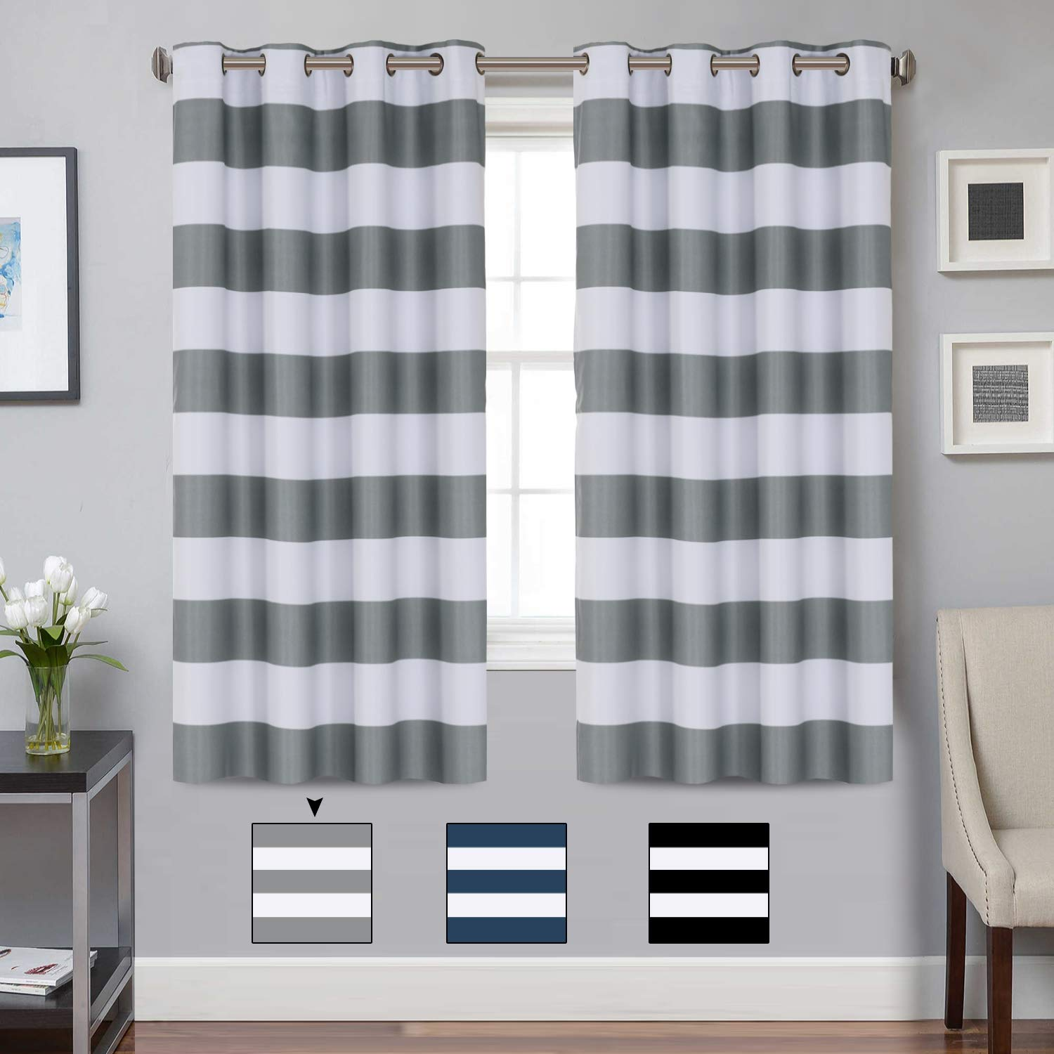 Turquoize Blackout Striped Curtains Panels for Bedroom Noise Reducing Thermal Insulated Solid Ring Top Blackout Window Drapes (Two Panels, 52 x 63 Inch, Grey and White Striped) by Turquoize